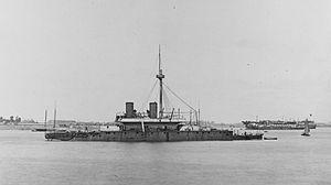 HMS Thunderer (1872) - Thunderer at anchor, before 1879