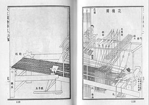 Tiangong Kaiwu - A giant draw loom machine for figure weaving, from the Tiangong Kaiwu.
