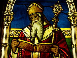Detail of St. Augustine in a stained glass window by Louis Comfort Tiffany in the Lightner Museum, St. Augustine, Florida.