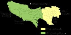 T�quio atualmente. �reas pintadas am amarelo sinalizam os 23 bairros de T�quio, e �reas pintadas em verde sinalizam cidades e vilas que tamb�m fazem parte de T�quio.