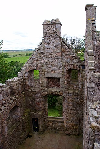Tolquhon Castle - Image: Tolquhon Castle, main hall from above with surrounding countryside