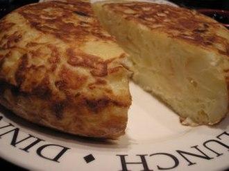 Spanish omelette - Tortilla de patatas cut in half