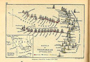 Map of the Trafalgar battle
