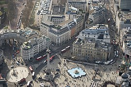 Trafalgar Square, a major junction in the city