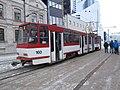 Tram 160 at Paberi Stop in Tallinn 22 January 2015.JPG