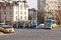 Tram in Sofia near Russian monument 066.jpg