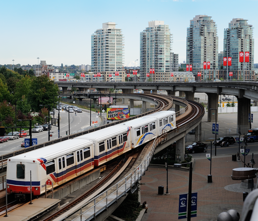 TransLink SkyTrain departs Stadium-Chinatown station in Vancouver, British Columbia, Canada