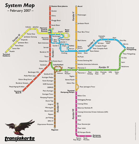 Image:Transjakarta Busway Map February 2007.png