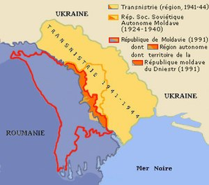 History of Transnistria - Changes of frontier in Transnistria: blue-Romania until 1940;orange-actual Transnistria; yellow-fascist Transnistria during WWII; red line-Moldavia 1991; orange line-communist MASSR