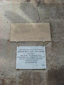 Lapidi in ricordo delle visite di Chateaubriand e di Goethe