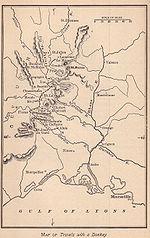 Mappa della Grande Randonnée n. 70 (GR 70), detta anche Chemin de Stevenson.