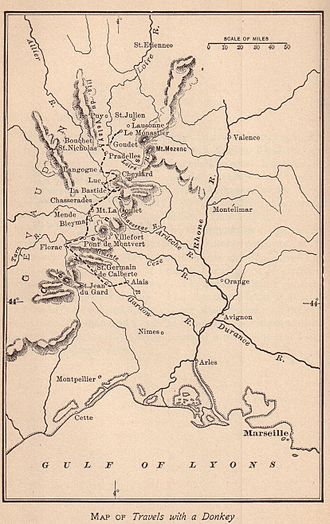 Hiking - Map of Robert Louis Stevenson's walking route, taken from Travels with a Donkey in the Cévennes(1879), a pioneering classic of outdoor literature.