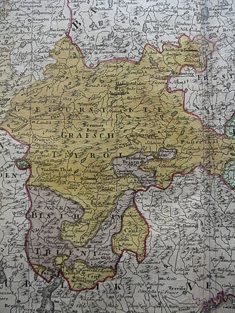 Bishopric of Brixen - The prince-bishoprics of Brixen and Trent interwoven with the County of Tyrol. Mid-18th. century.