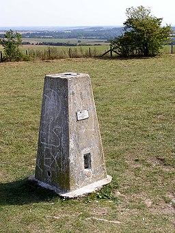 Triangulation pillar at Farley Mount - geograph.org.uk - 236887