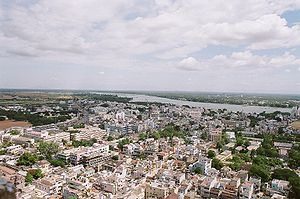 Trichy city, the Kaveri river and three gopura...