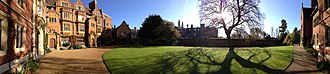 Trinity Hall, Cambridge - A panoramic view of Latham Lawn and the adjacent buildings