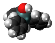 Space-filling model of the triphenyltin hydroxide molecule