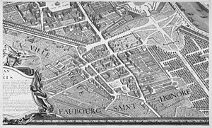 La Madeleine, Paris - The 1659 church on the Turgot map of Paris (1736)