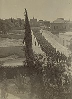 Turkish columns marching out to drill, 1914