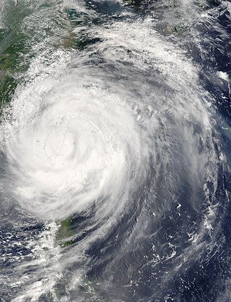 Typhoon Haitang (2005) - Typhoon Haitang making landfall in Taiwan on July 18
