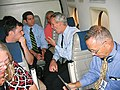 U.S. Representative and gubernatorial candidate Jim Davis talking with reporters aboard his campaign plane.jpg