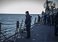 U.S. Sailors on the guided missile destroyer USS Truxtun (DDG 103) prepare to receive a simulated prisoner during a visit, board, search and seizure drill in the Atlantic Ocean Dec. 13, 2013 131213-N-EI510-012.jpg