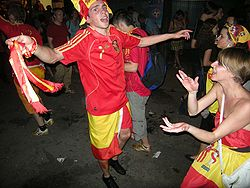 Spanish fans are getting excited in Vienna's