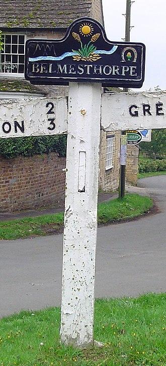 Ryhall - Sign in Belmesthorpe