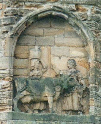 Legend of the founding of Durham (from a carving on the south side of the cathedral) UK Durham Dun-Cow.jpg