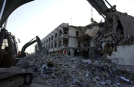 The UN headquarters building in Baghdad after the Canal Hotel bombing, on 22 August 2003 UNOfficeofHumanitarianCoordinator-Baghdad (UN DF-SD-04-02188).jpg