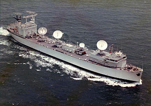 USNS Mission San Fernando (T-AO-122) - Vanguard (T-AGM-19) seen here as a NASA Skylab tracking ship. Note the SatCom tracking radar and telemetry antennas.