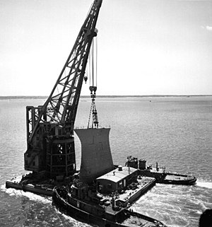 USS Kentucky (BB-66) - The bow of Kentucky, transported in one section, by barge, to repair Wisconsin.