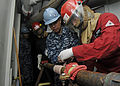 USS Blue Ridge Sailors conduct flooding drill 141105-N-YF014-025.jpg
