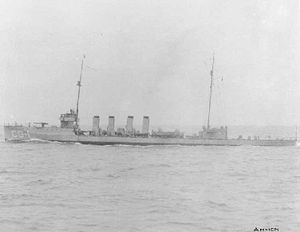 Action of 15 October 1917 - The destroyer USS Cassin.