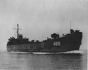 USS LST-488 underway, date and location unknown.