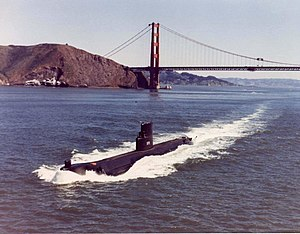 Seawolf (SSN-575) is seen departing San Francisco Bay in August 1977.