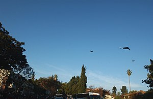 English: A B-2 Spirit and two F-22 Raptors fly...