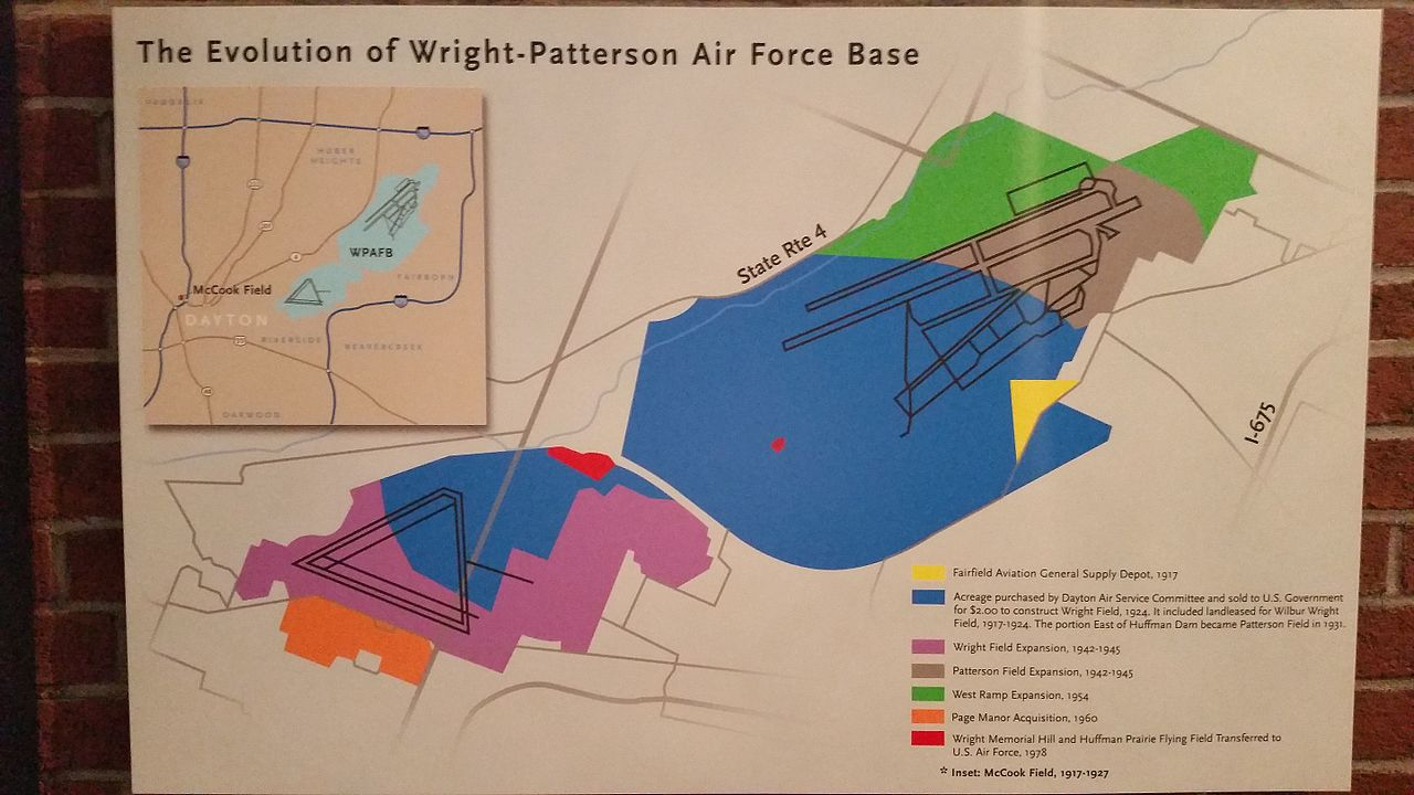 WrightPatterson Air Force Base Wikiwand - Map of us showing dayton and kitty hawk