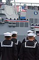 US Navy 021109-N-2383B-678 Sailors assigned to the newly commissioned guided missile destroyer USS Preble (DDG 88) man the ship and bringing her life as part of her commissioning ceremony.jpg
