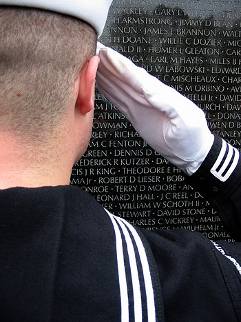 US Navy 031111-N-0615K-035 In a gesture of respect and remembrance, U.S. Navy Cryptologic Technician 3rd Class Ryan M. King salutes his 2nd cousin, Robert D. Lieser, whose name is on the wall of the National Vietnam Veterans Me.jpg
