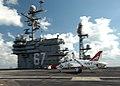 US Navy 050124-N-8704K-001 A Navy Student Aviator makes their first arrested landing aboard the conventionally powered aircraft carrier USS John F. Kennedy (CV 67) in an T-45A Goshawk.jpg