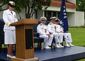 US Navy 070706-N-8547M-107 Rear Adm. Moira N. Flanders gives her speech at the Center for Seabees and Facilities Engineering (CSFE) change of command.jpg