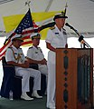 US Navy 090804-N-5207L-064 Rear Adm. Nora Tyson, commander of Logistics Group Western Pacific, speaks at the opening ceremony for Cooperation Afloat Readiness and Training (CARAT) Brunei 2009.jpg