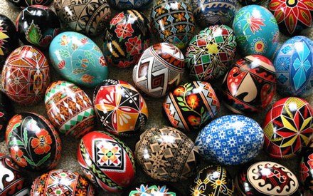 A mix of modern and traditional Ukrainian pysanky