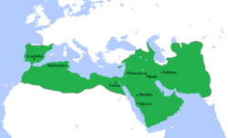 The Umayyad Caliphate at its greatest extent in AD 750