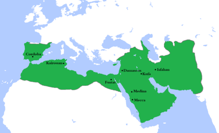 At its greatest extent, the Umayyad Caliphate (661-750) covered 11,100,000 km (4,300,000 sq mi) and 62 million people (29 percent of the world's population), making it one of the largest empires in history in both area and proportion of the world's population. It was also larger than any previous empire in history. Umayyad750ADloc.png