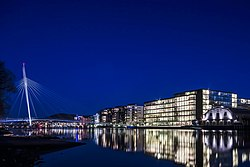 Downtown Drammen by night