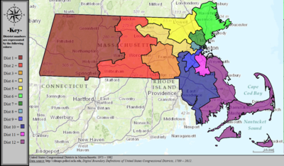 Massachusettss Congressional Districts Wikipedia - Massachusetts us map