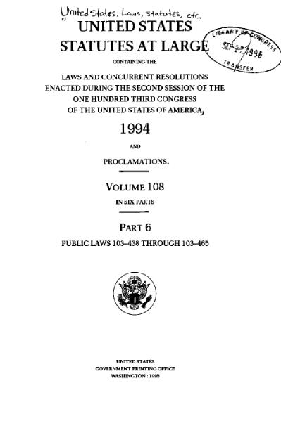 File:United States Statutes at Large Volume 108 Part 6.djvu