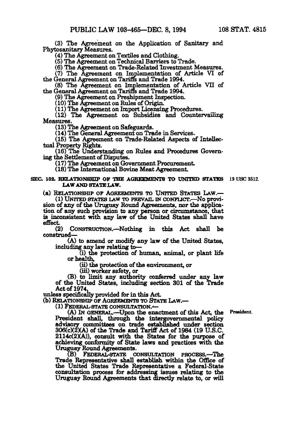 general agreement on tariffs and trade 1994